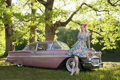 Sonny Farmer's 58' Chevy Biscayne featuring Kimber VonGore