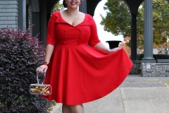 Ms. Buttercream Bettie in Glamour Bunny Faith Swing Dress